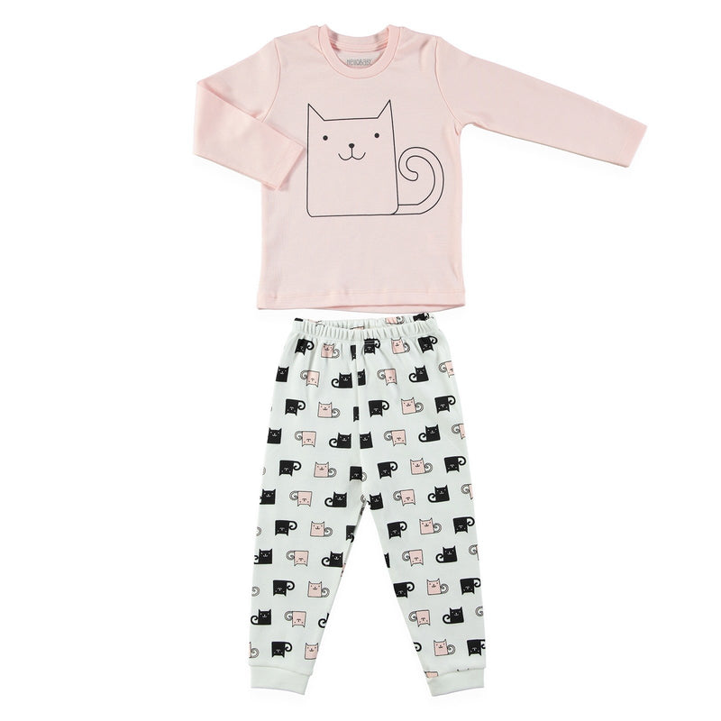 HelloBaby Cat Print 2 Piece Pijama Set for Toddler Girls