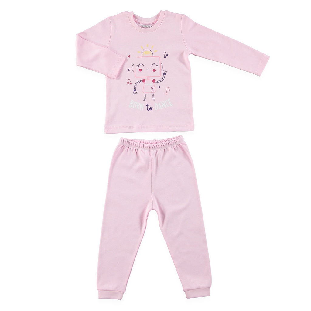 HelloBaby Robot Print 2 Piece Pajama Set for Baby Girls