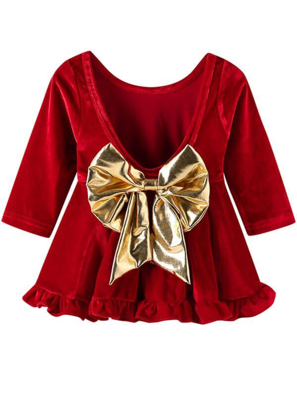 Bow Tie Velvet Backless Red Dress for Baby Girls