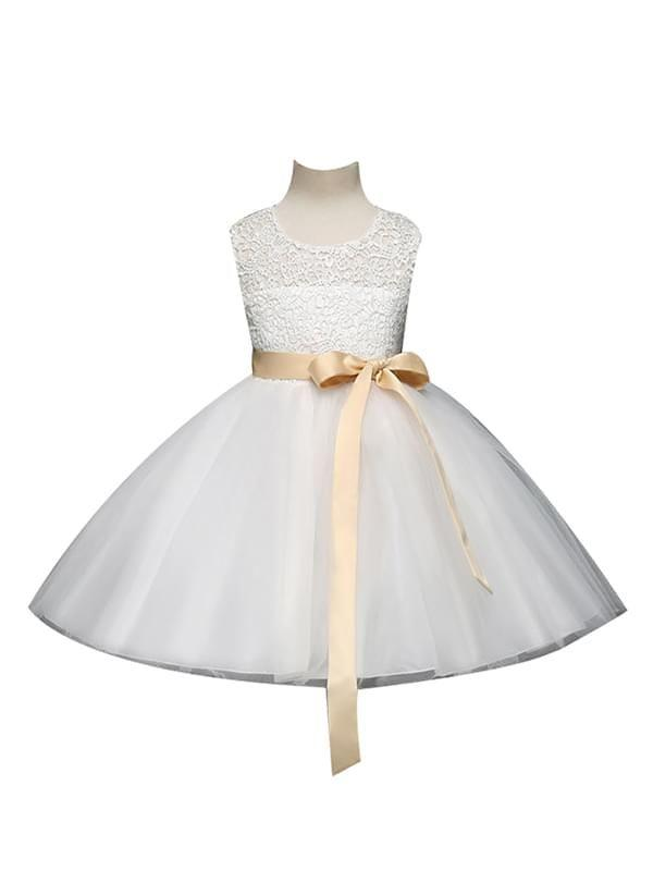 Elegant Lace Tulle Bow Dress for Toddler Girls