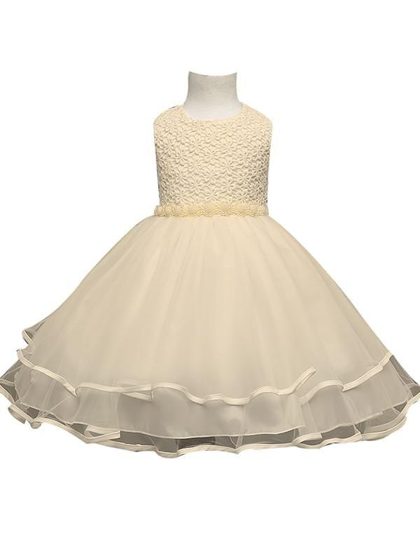 Beads Belt Bow Ruffled Tulle Dress for Girls