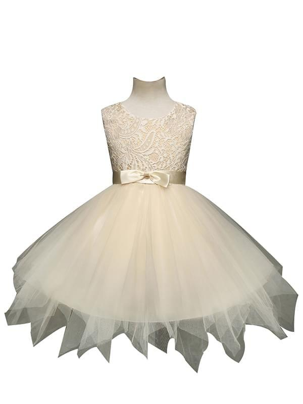 Bow Ribbon Belt Asymmetrical Ruffled Tulle Dress for Girls