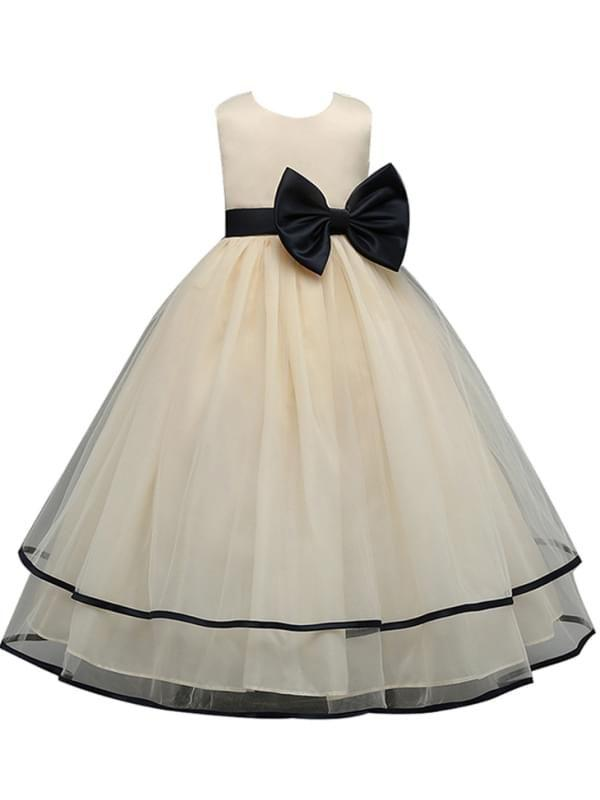 Bow Sleeveless Lace Tulle Ruffled Tuttu Dress for Girls