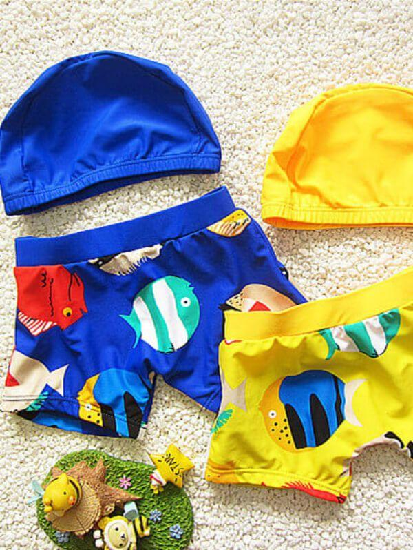 Cartoon Printed Swimwear Set for Toddler Boys