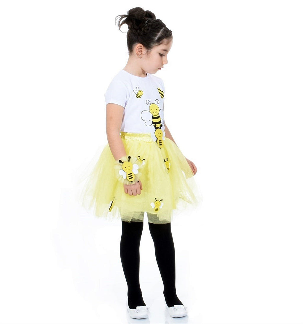 Nurtopu Bee Printed Frilly Skirt Set for Girls