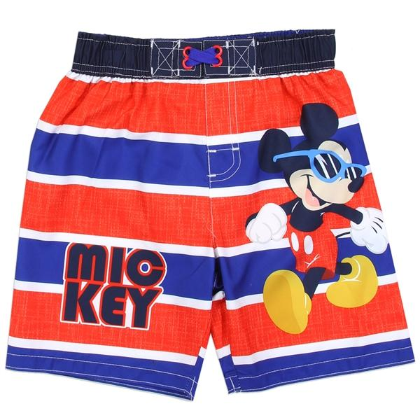 Mickey Mouse Navy Red Striped Swim Short for ToddlerBoys