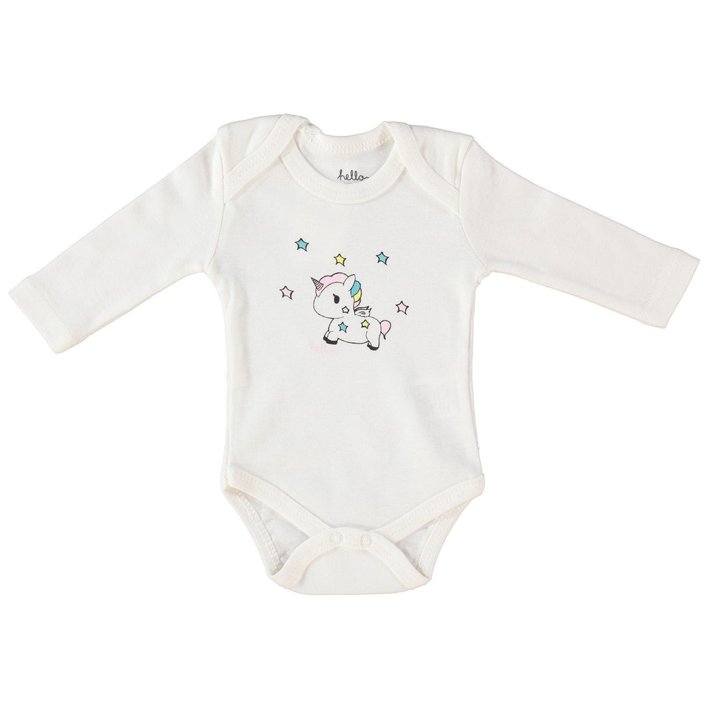 HelloBaby Baby Pony Print Long Sleve Bodysuit for Baby Girls