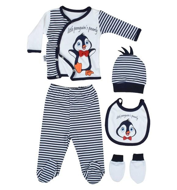 Pearly Penguin Print 3 Piece Set for Newborn Boys