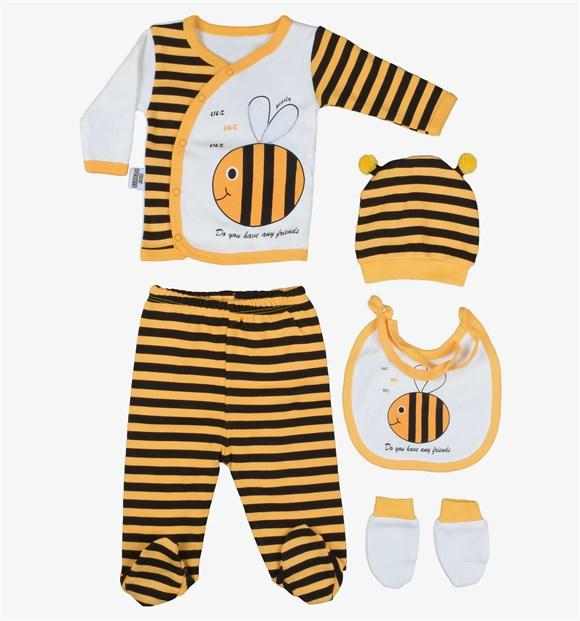 Pearly Bee Print 5 Piece Set for Newborn Girls & Newborn Boys