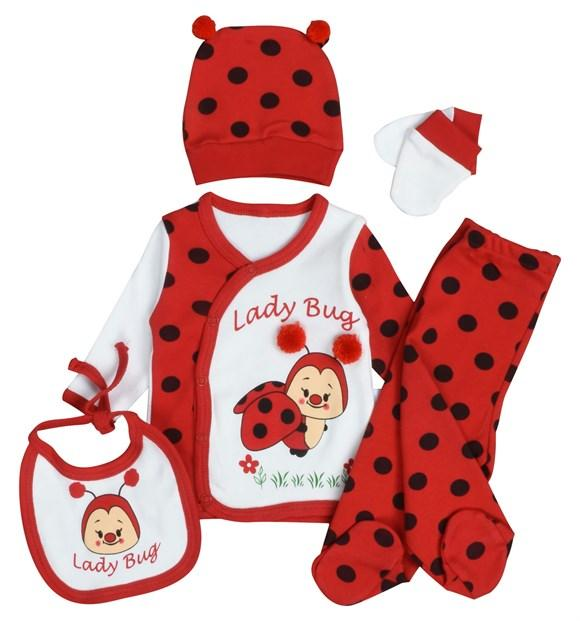 Pearly Lady Bug Print  3 Piece Set for Newborn Girls