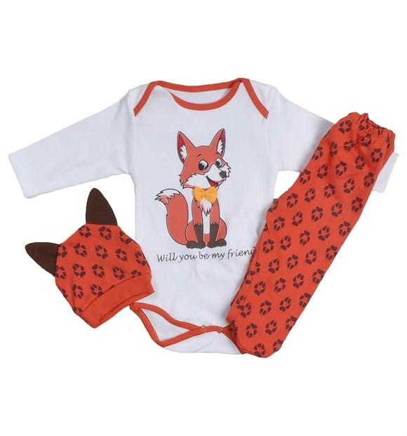 Pearly Fox Print 3 Piece Set for Baby Boys