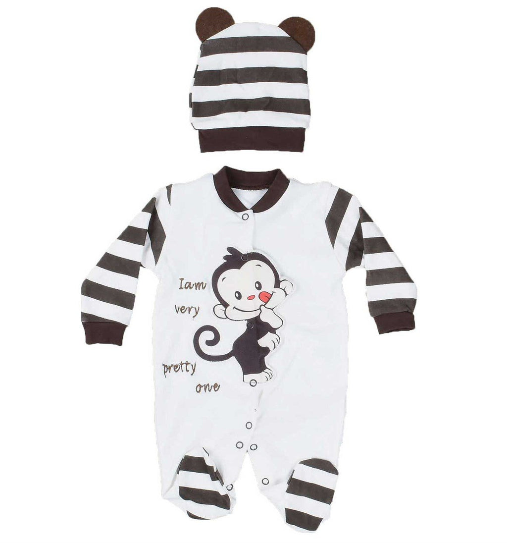 Necixs Hoisery Monkey Pattern Overall for Baby Boys