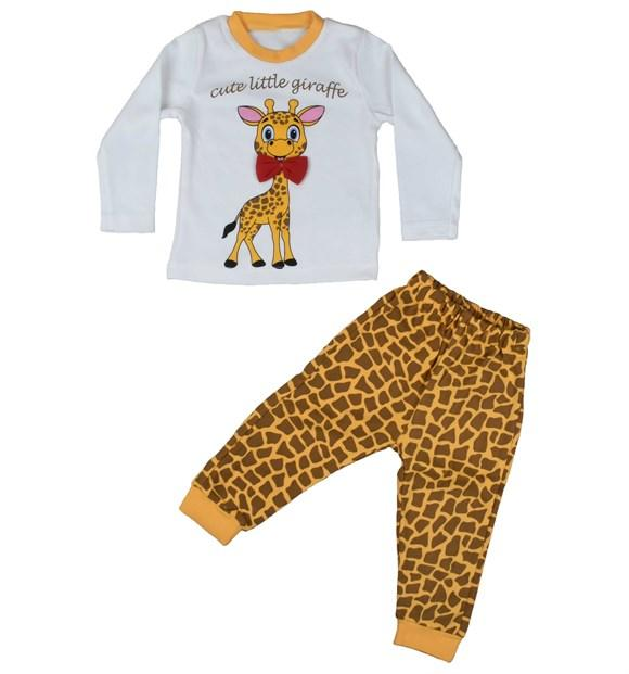Pearly Little Giraffe Print 2 Piece Pajama Set for Baby Boys