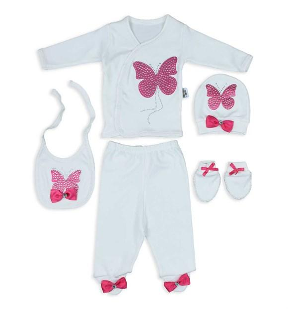 Pearly Butterfly Print 5 Piece Set for Newborn Girls