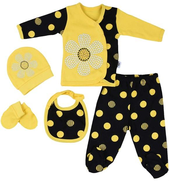 Pearly Flower Print 5 Piece Set for Newborn Boys