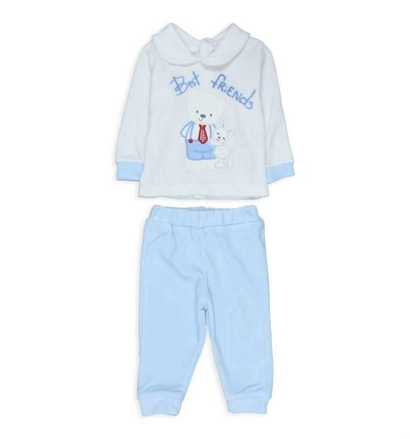 Pearly Shy Best Friends Print 3 Piece Velvet Set for Baby Boys
