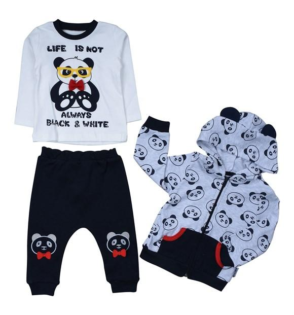 Necixs Panda Print 3 Piece Set for Baby Boys