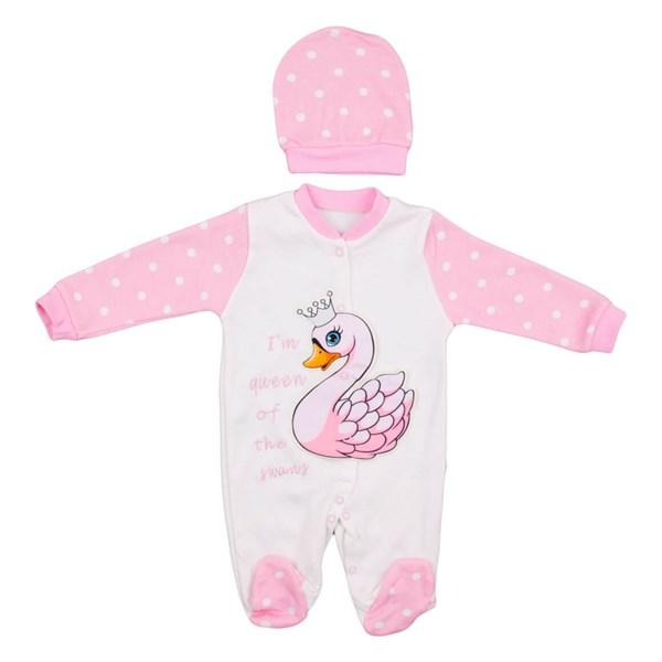 Necixs Crowned Swan 2 Piece Bodysuit for Baby Girls