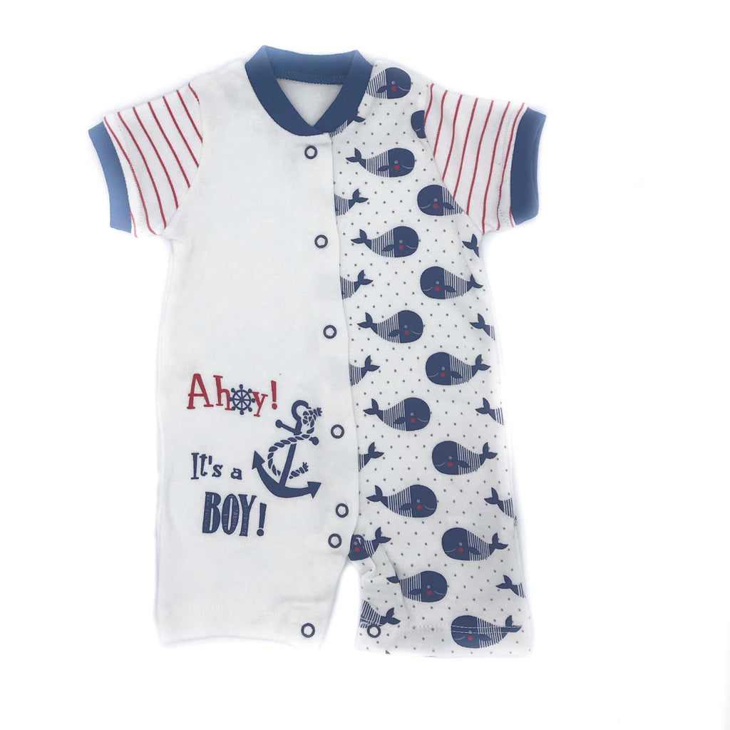 Necixs Whale Ahoy Printed Overall for Baby Boys