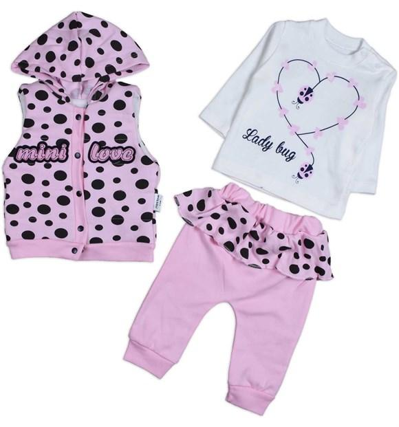 Mini Love Lady Bug Print 3 Piece Set for Baby Girls