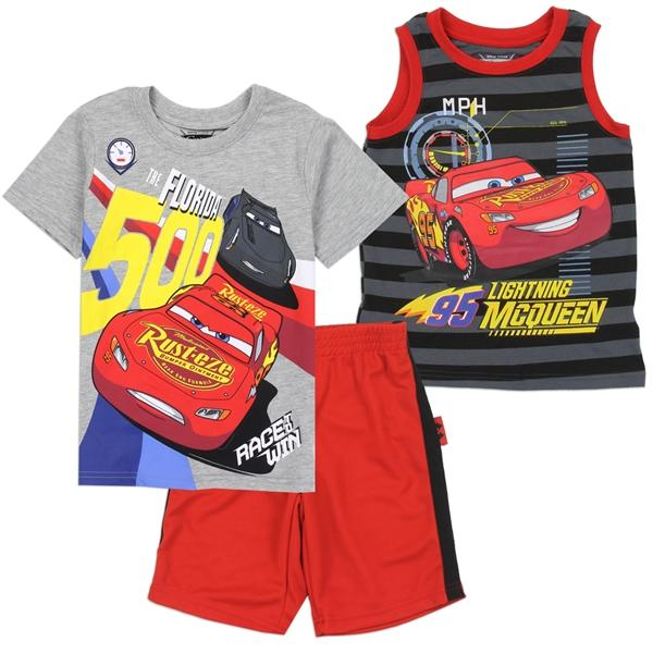 CARS Boys 3 Piece T-Shirt & Short Set for ToddlerBoys