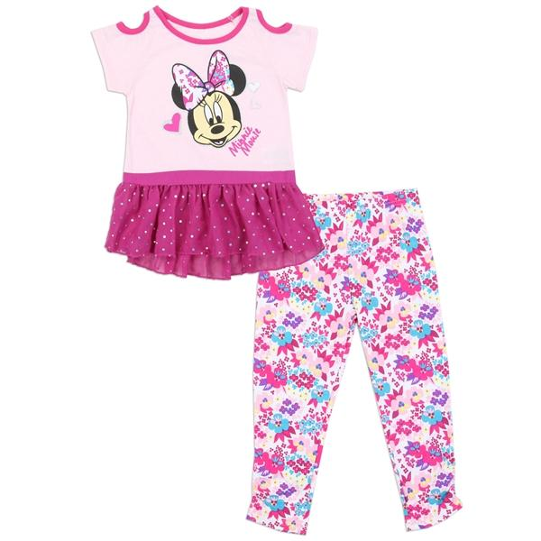 f8bdb9c2a4b75 Minnie Mouse 2 Piece Leggings Set with Chiffon Trim for Toddler ...