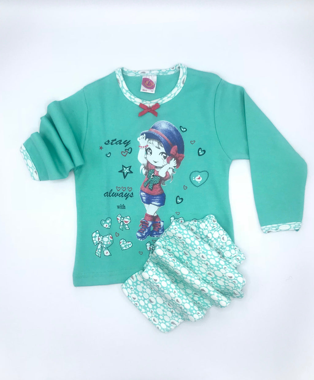 Bimbi Bow Girl Print Pajama Set for Baby Girls