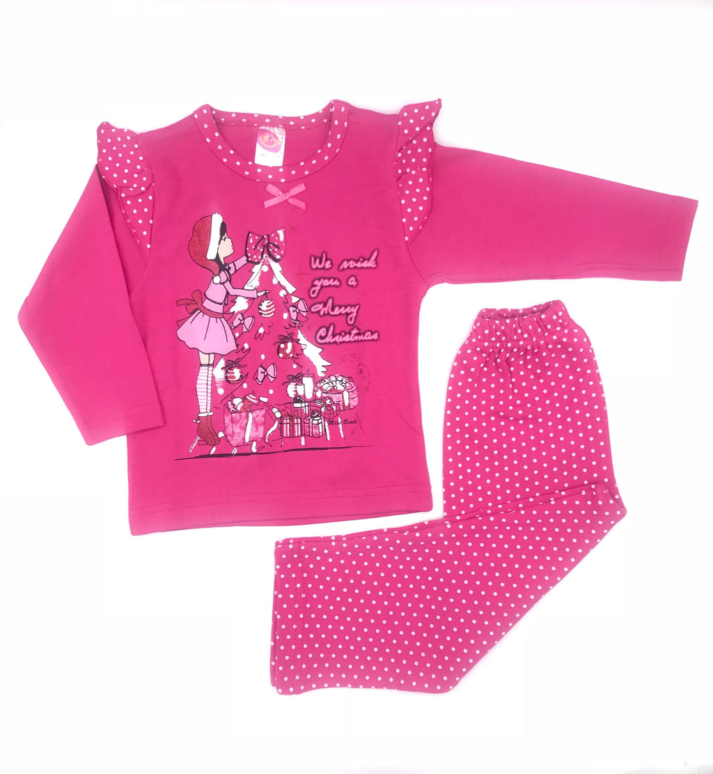 Bimbi Christmas Print Pajama Set for Baby Girls