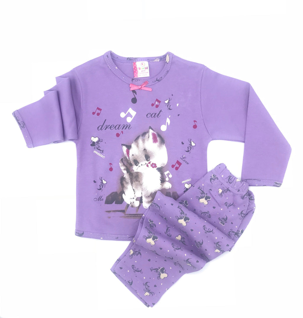 Bimbi Dream Cat Print Pajama Set for Baby Girls