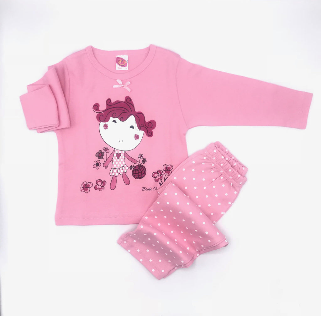 Bimbi Girl Print Pajama Set for Baby Girls
