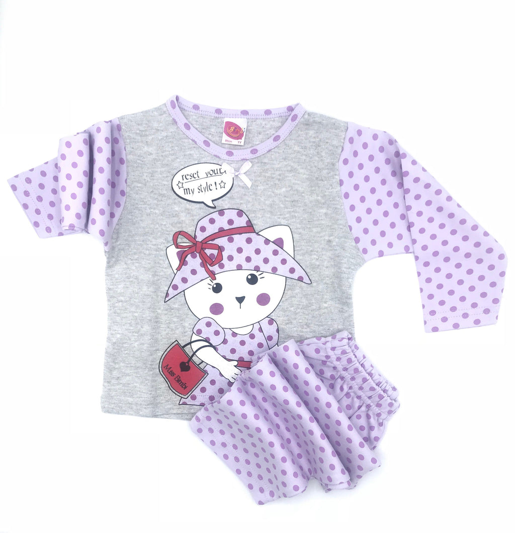 Bimbi Miss Bimbi Kitty Print Pajama Set for Baby Girls