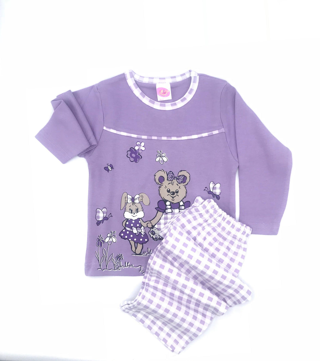 Bimbi Rabbit Print Pajama Set for Baby Girls