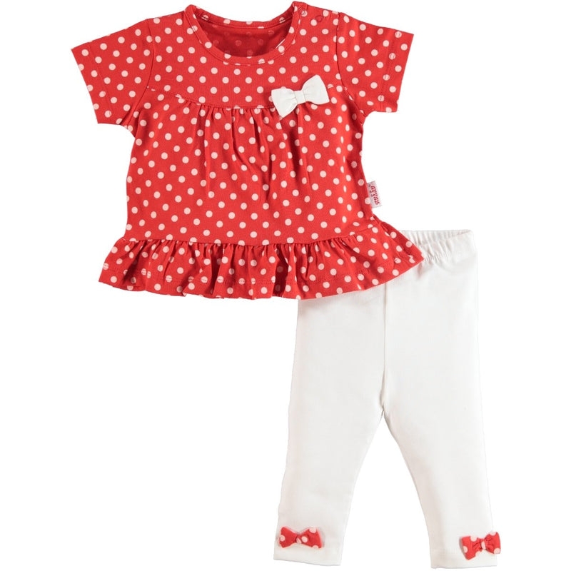 Kujju Puan Printed Short Sleeve Shirt And Tights for Baby Girls