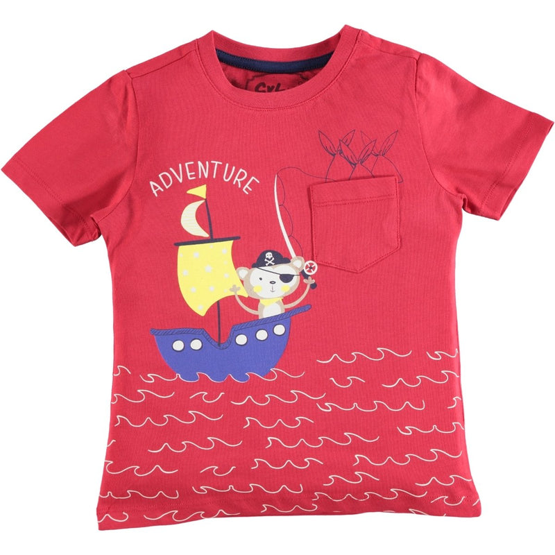 Civil Boys Adventure Printed Pocketed T-Shirt for Toddler Boys