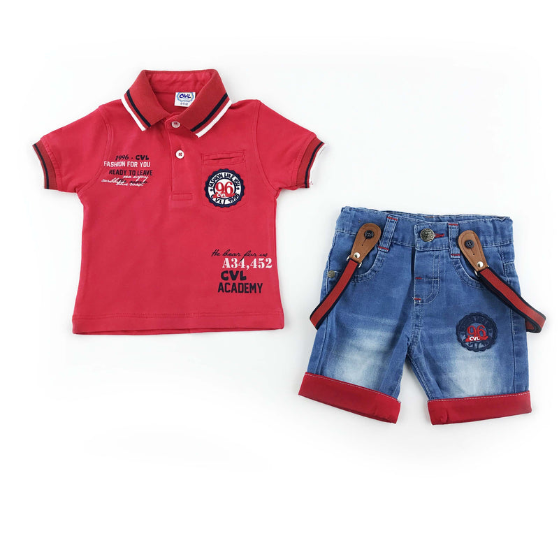 Civil Baby Crested 2 Piece Set for Baby Boys (Denim Short)