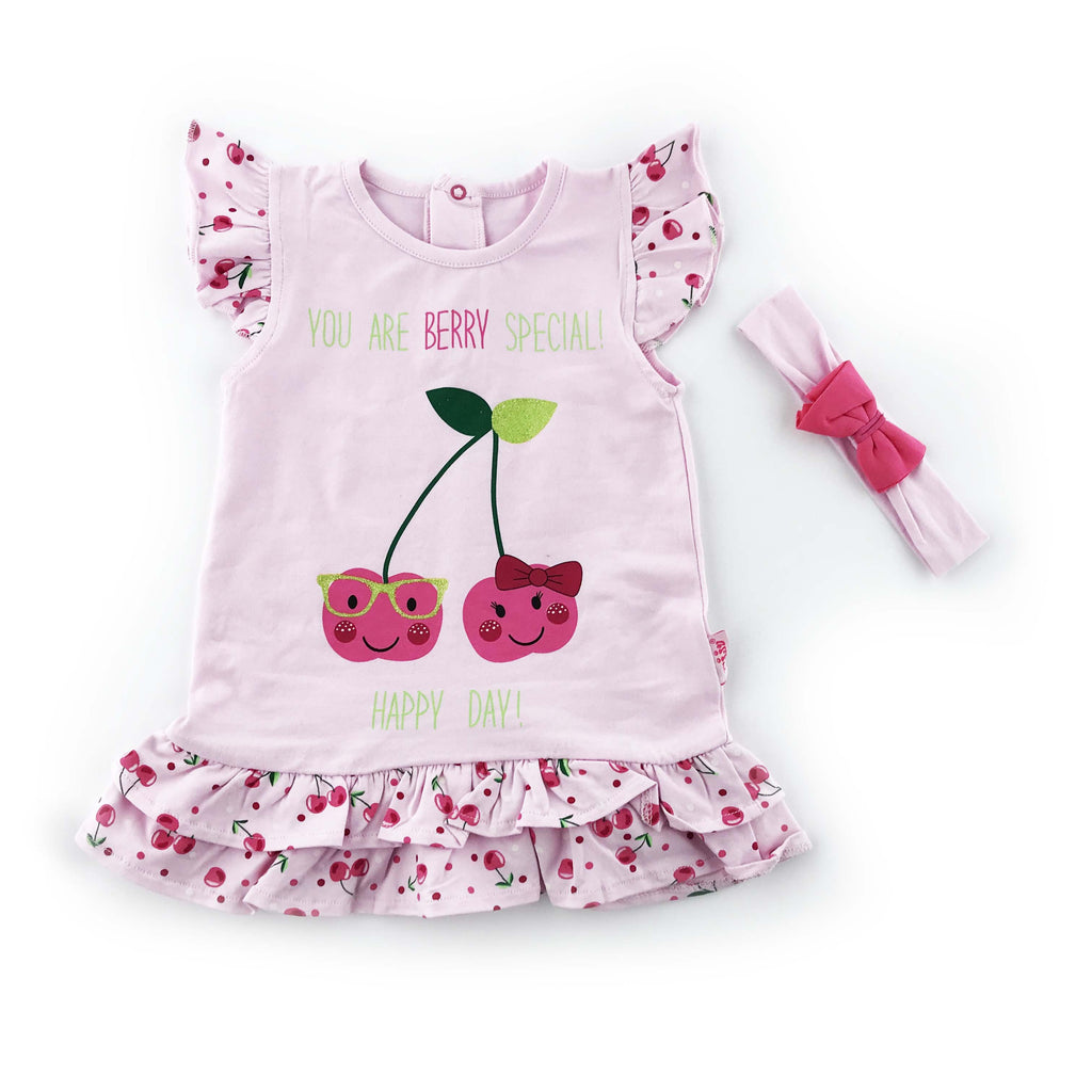 Kujju Cherry Printed Dress for Baby Girls