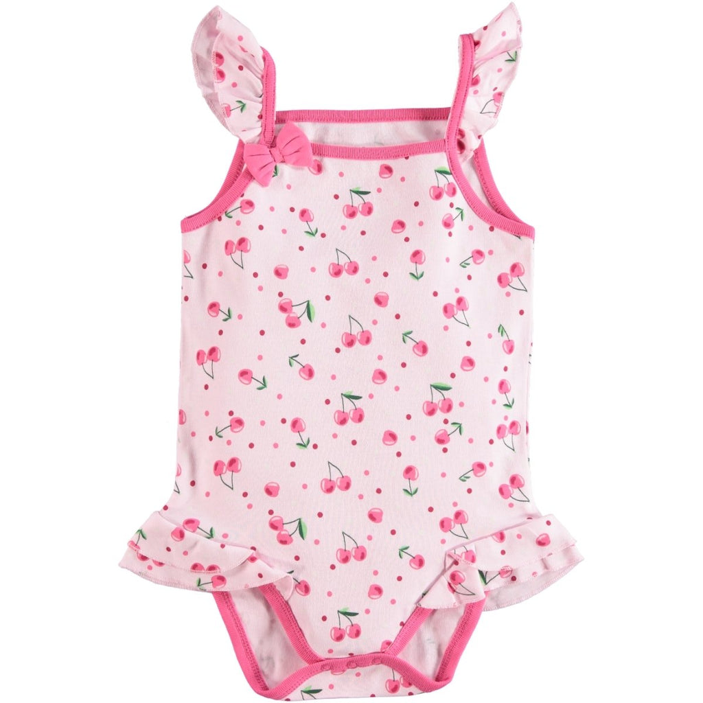 Kujju Cherry Printed Sleeveless Bodysuit for Toddler Girls