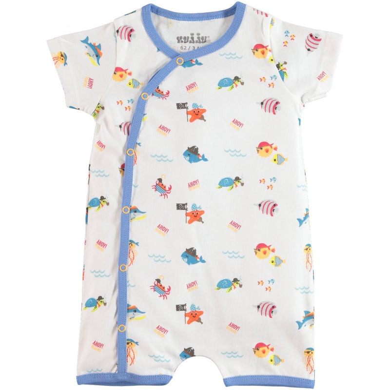 Kujju Ahoy Fish Printed Shirt Sleeve Bodysuit for Baby Boys
