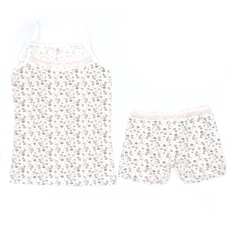 OTS Green Flower Embellished Underwear & Undershirt Set for Toddler Girls