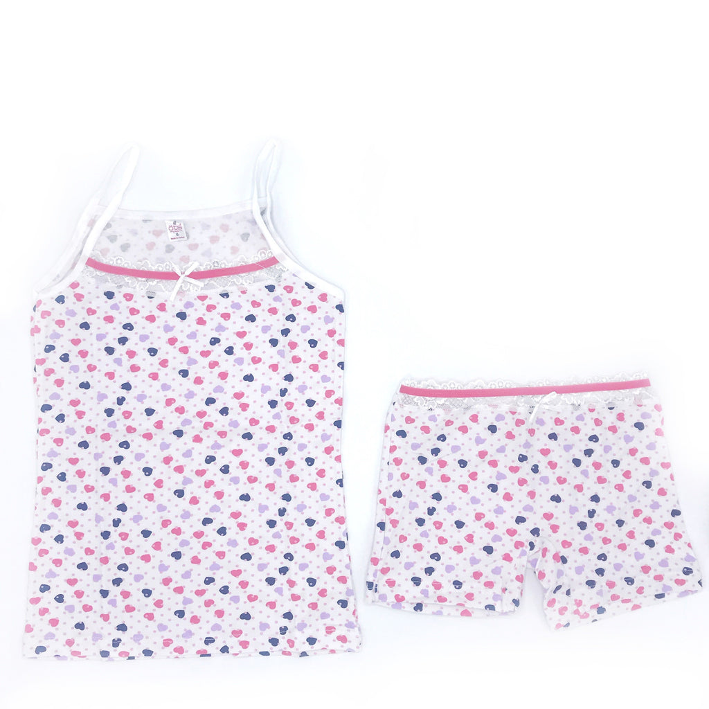 OTS Heart Embellished Underwear & Undershirt Set for Girls