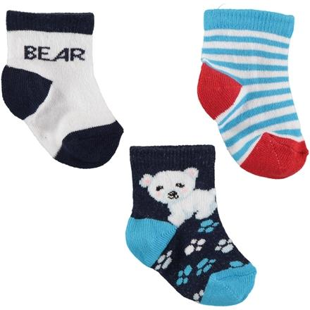 Arti Bear Embelleshed 3 Pieces Socks for Baby Boys