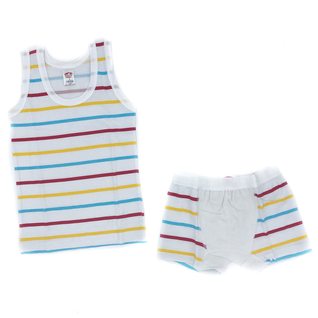 Sahin Hoisery Colorful Striped Underwear And Undershirt Set for Boys