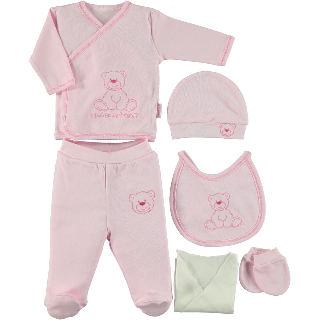 Kujju Bear Embellished Bodysuit Set for Newborn Girls