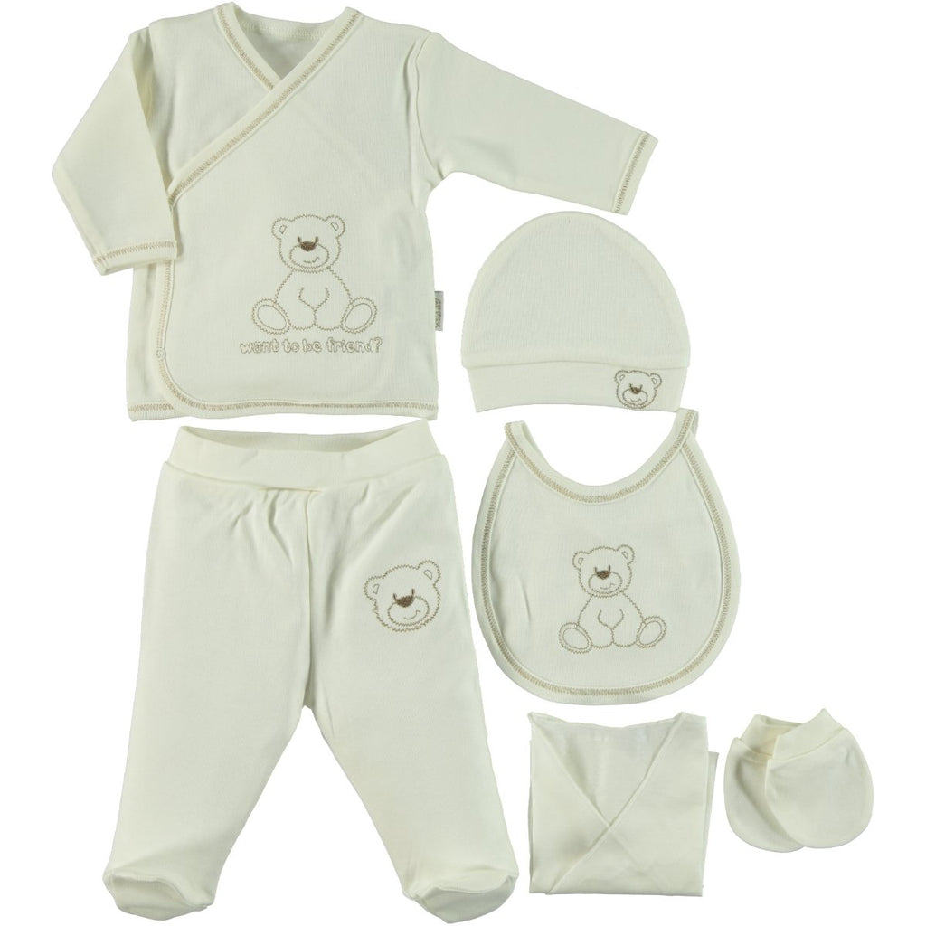 Kujju Bear Embellished Bodysuit Set for Newborn Girls and Newbnorn Boys