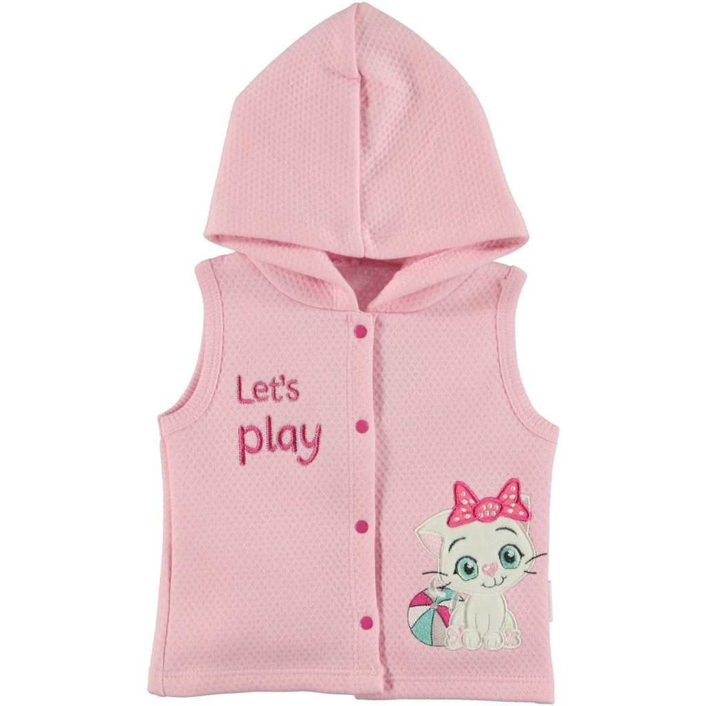 Kujju Cat Embellished Hooded Vest for Baby Girls
