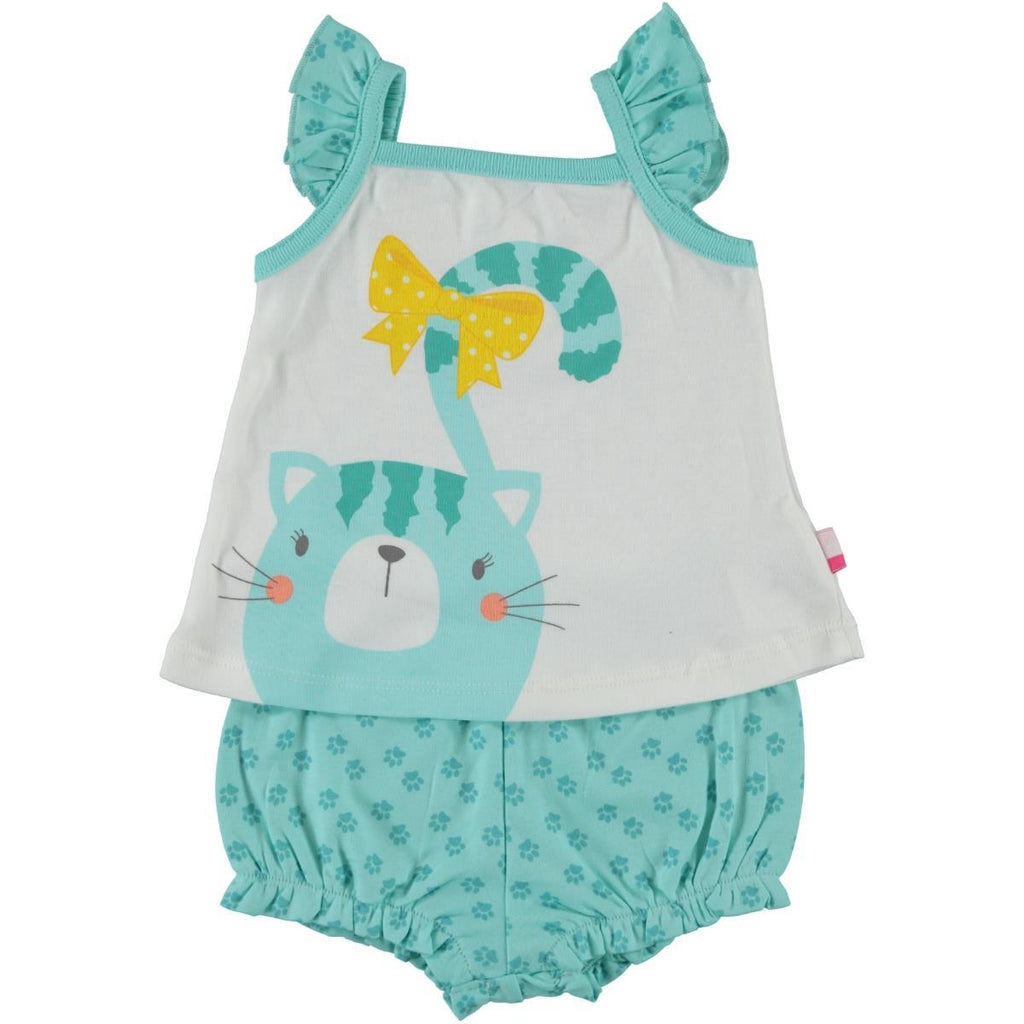 Babycenter Cat Patterned 2 Piece Set for Newborn Girls