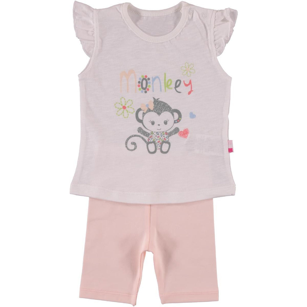 Babycenter Monkey Patterned 2 Piece Set for Newborn Girls
