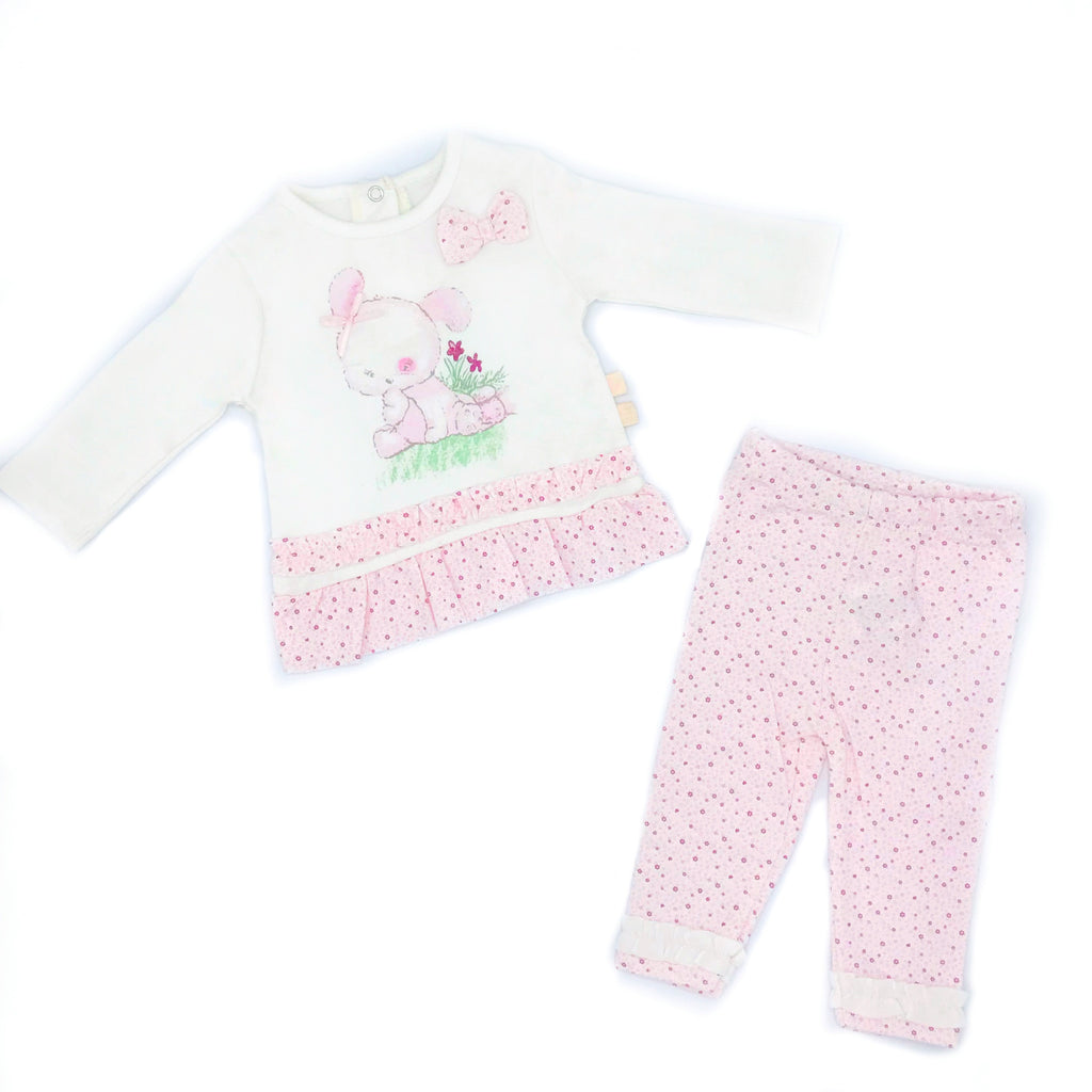 Petit Rabbit Patterned Bow Detailed 2 Piece Set for Newborn Girls