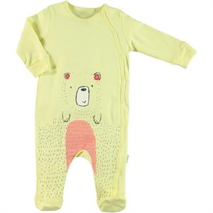 Kujju Long Sleeve Bear Embellished Babysuit With Booties for Baby Boys
