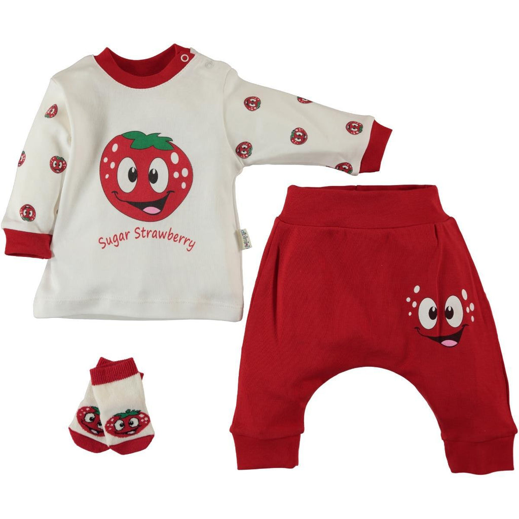 Minidamla Sugar Strawberry Print 3 Piece Set for Newborn Girls